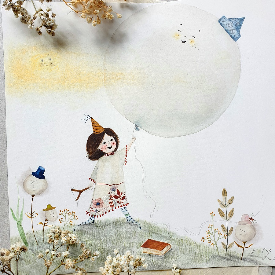 Little girl with a balloon and storm clouds